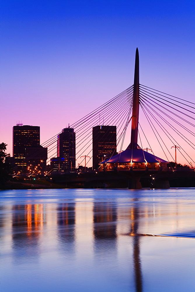 Esplanade Riel Bridge over the Red River, Winnipeg, Manitoba, Canada, North America - 776-1076