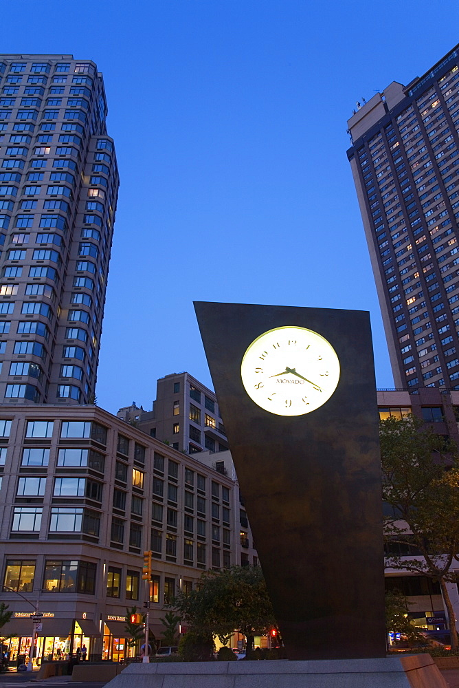 Timesculpture by artist Philip Johnson, at Lincoln Center, Upper West Side, Manhattan, New York City, New York, United States of America, North America