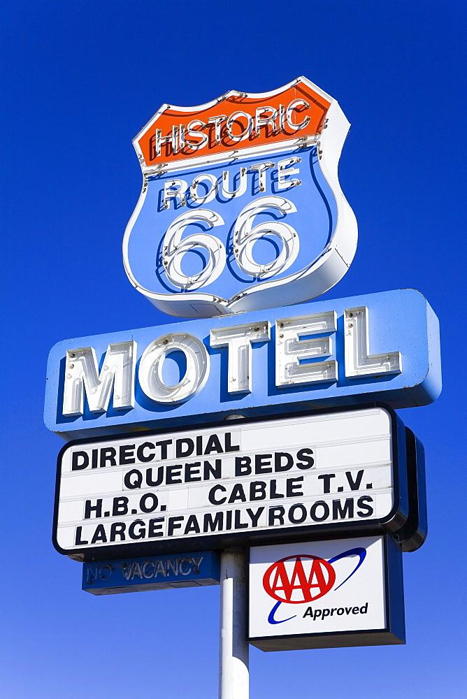 Route 66 Motel sign, Seligman, Arizona, United States of America, North America
