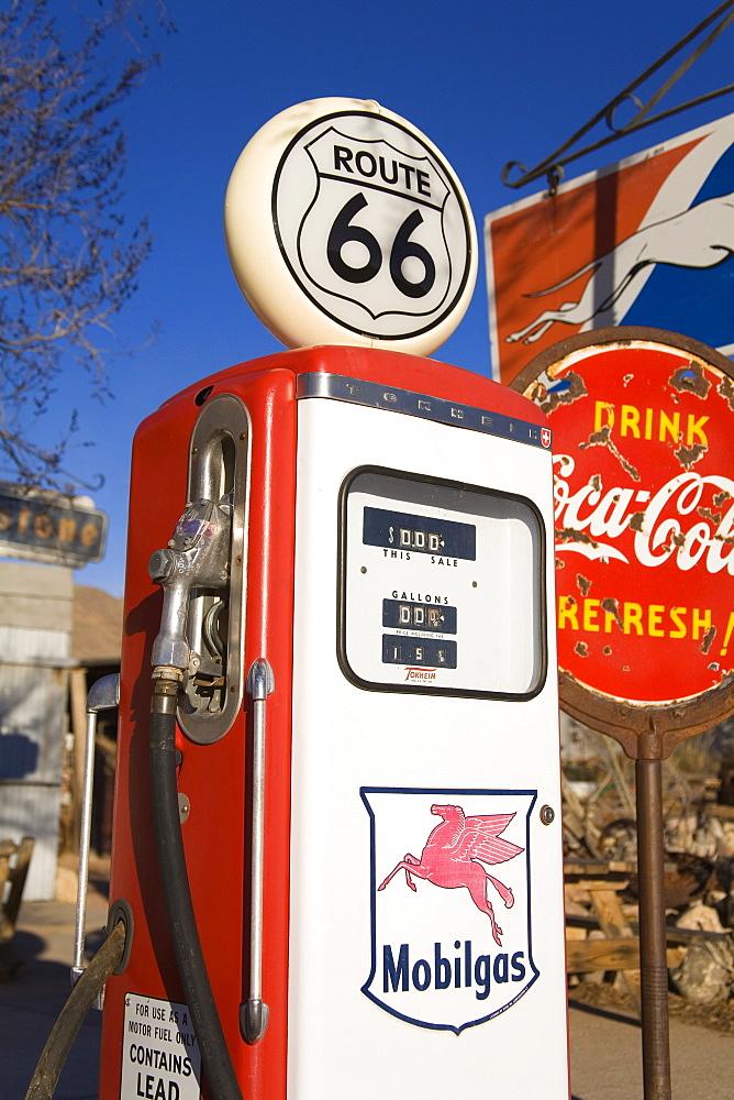 Gas pump, general store & Route 66 Museum, Hackberry, Arizona, United States of America, North America