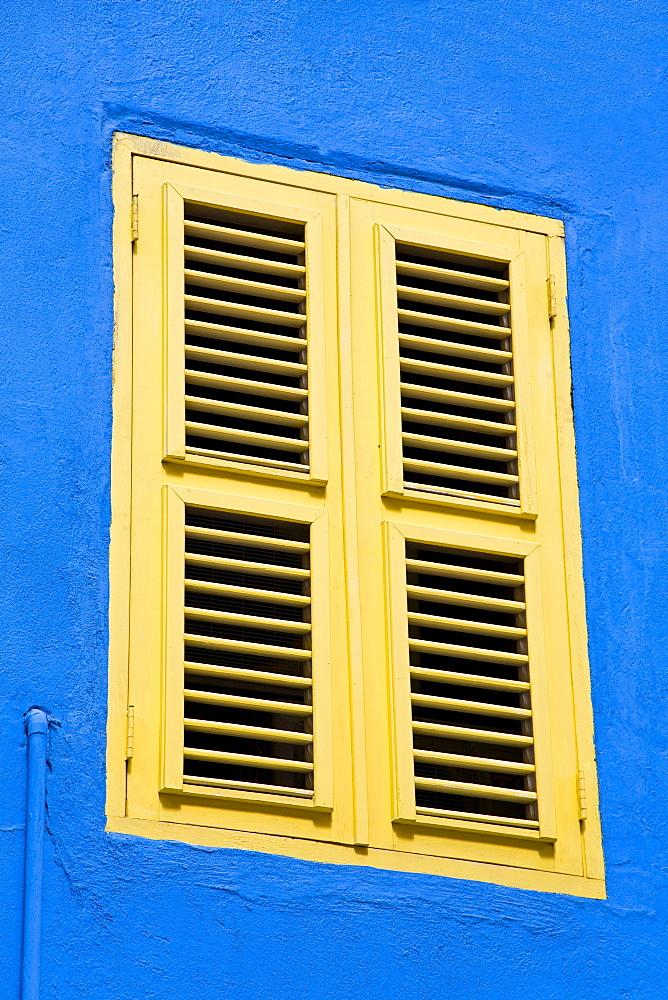 Shutter on Heerenstraat, Punda District, Willemstad, Curacao, Netherlands Antilles, West Indies, Caribbean, Central America