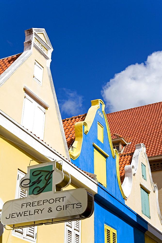 Dutch style architecture, Heerenstraat, Punda District, Willemstad, Curacao, Netherlands Antilles, West Indies, Caribbean, Central America