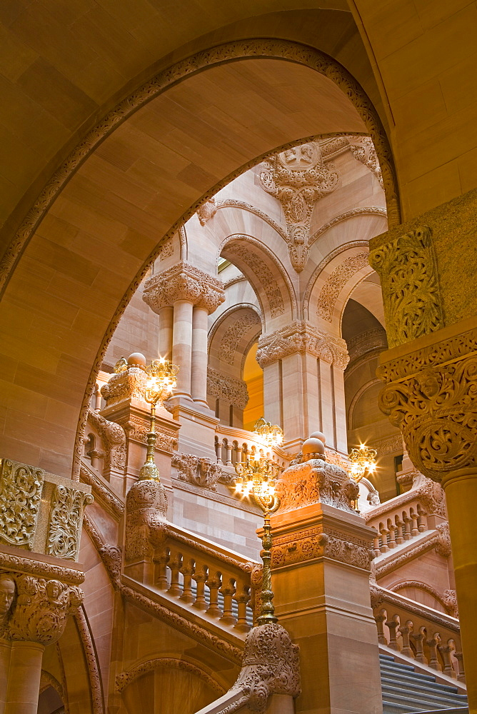 Million Dollar Staircase, State Capitol Building, Albany, New York State, United States of America, North America