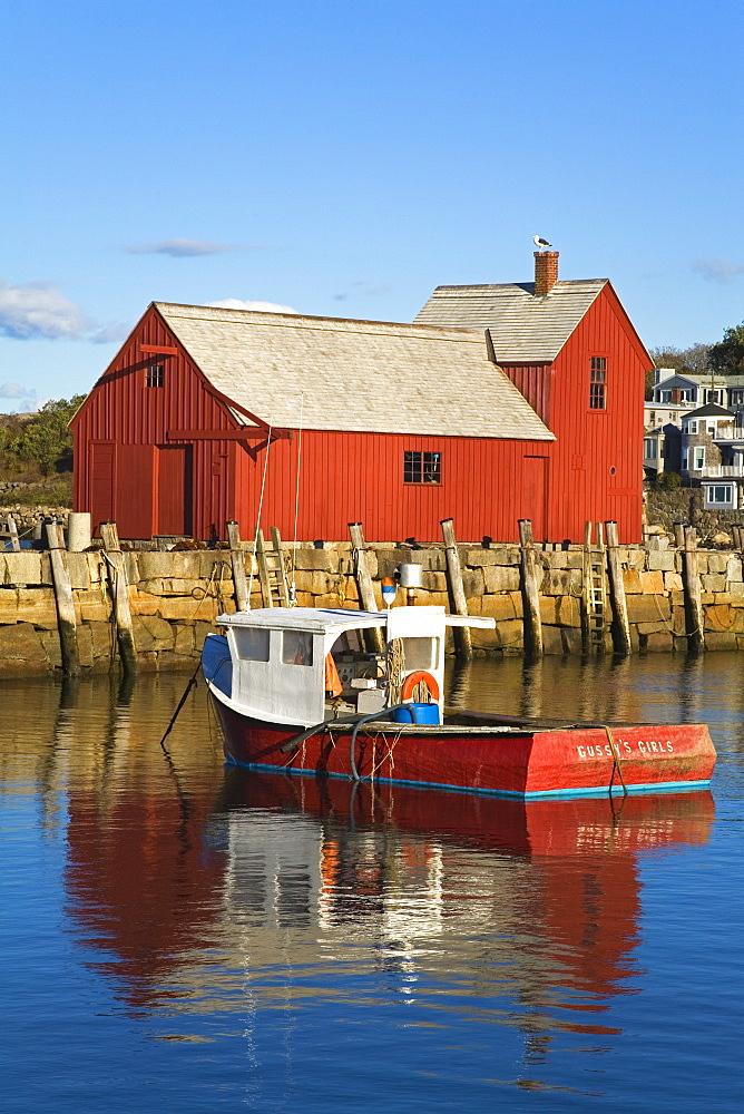 Boathouse in Rockport Harbor, Cape Ann, Greater Boston Area, Massachusetts, New England, United States of America, North America