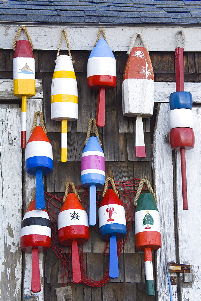 Fishing buoys in Rockport, Cape Ann, Greater Boston Area, Massachusetts, New England, United States of America, North America - 776-1470