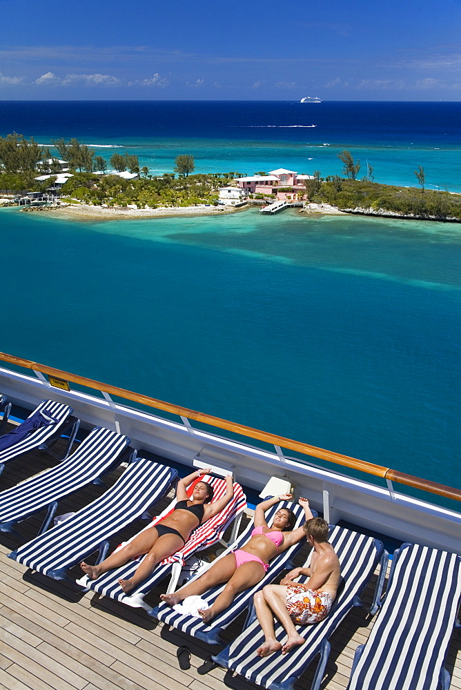 Deck of cruise ship and Paradise Island, Nassau, New Providence Island, Bahamas, West Indies, Central America