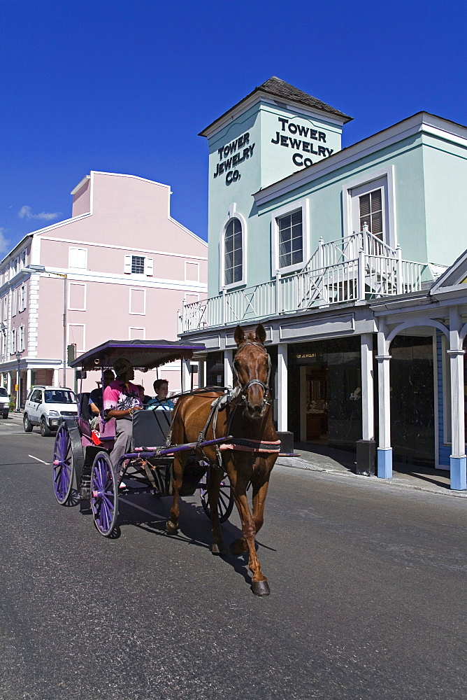 Stores on Bay Street, Nassau, New Providence Island, Bahamas, West Indies, Central America