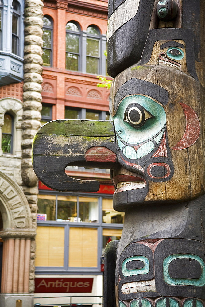 Totem Pole in Pioneer Square, Seattle, Washington State, United States of America, North America