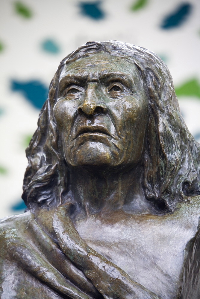 Bust of Chief Seattle in Pioneer Square, Seattle, Washington State, United States of America, North America