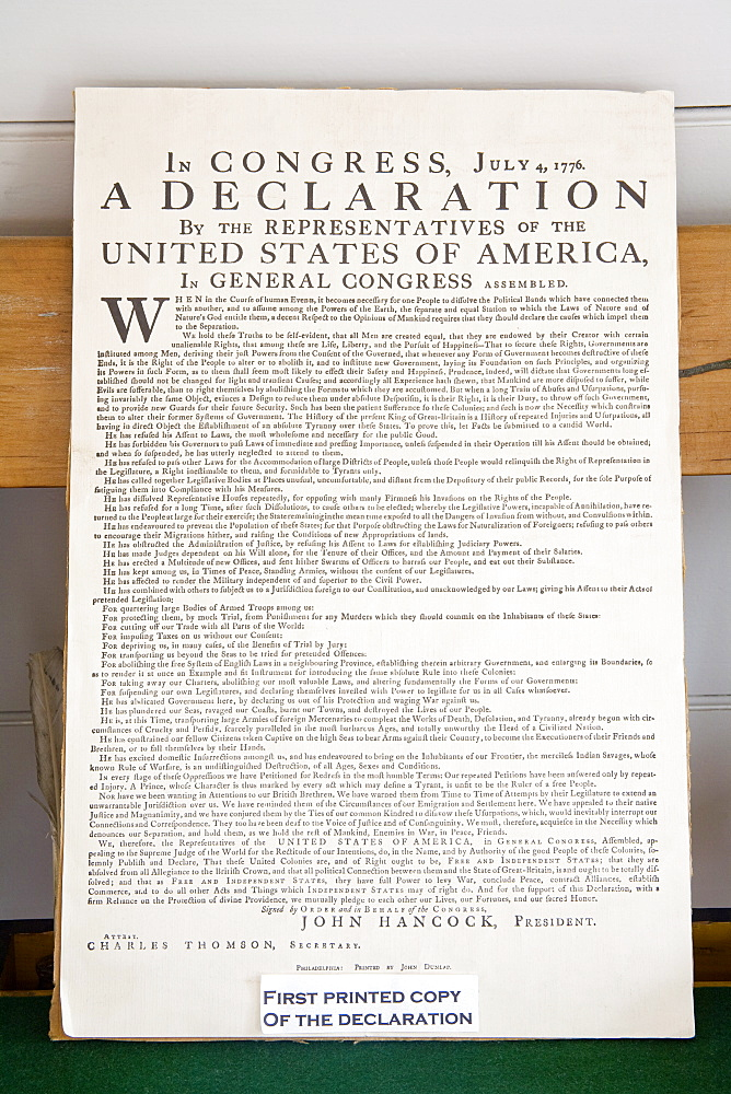Copy of The Declaration of Independence in Free Quarker Meeting House, Independence National Historical Park, Philadelphia, Pennsylvania, United States of America, North America