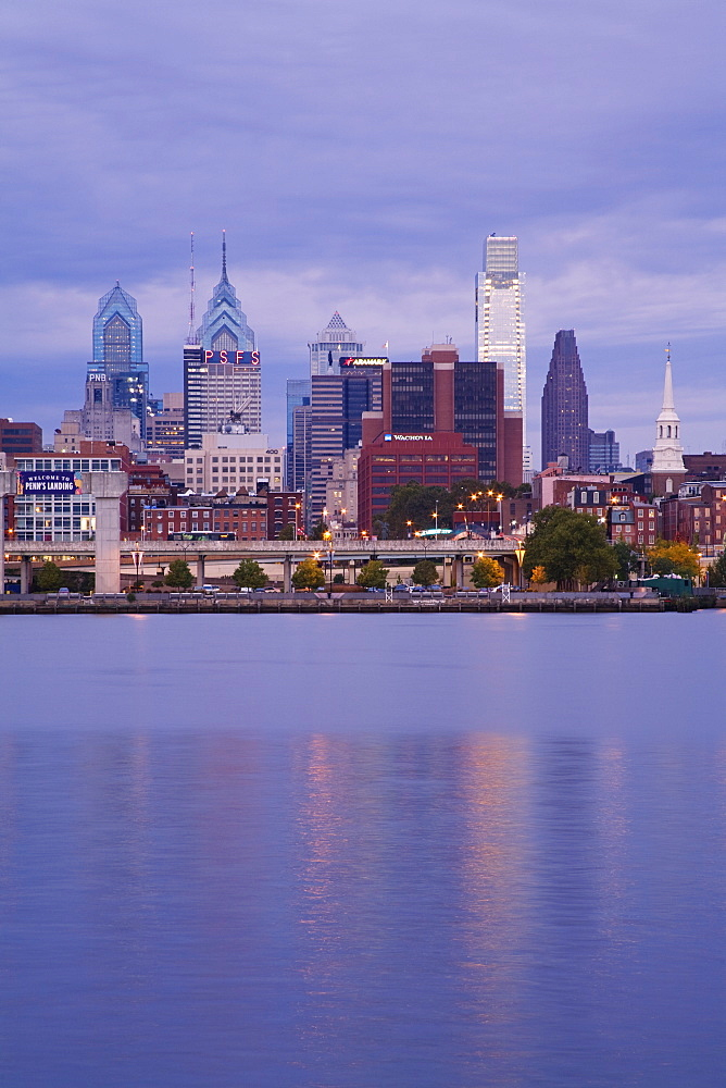 Philadelphia skyline and Delaware River, Philadelphia, Pennsylvania, United States of America, North America