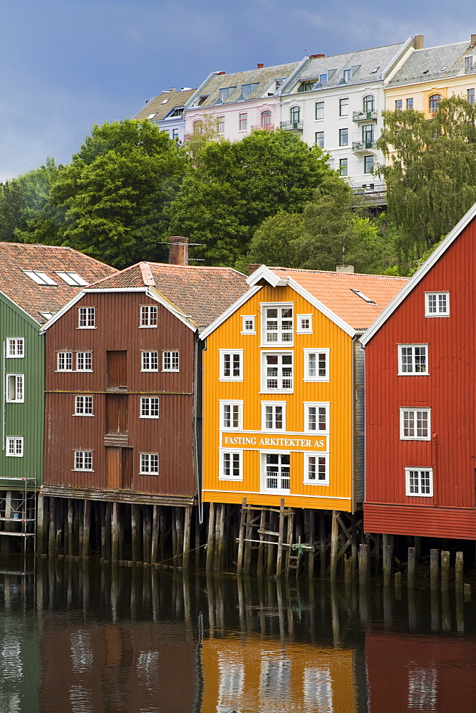 Warehouses on Bryggen waterfront in Old Town District, Trondheim, Nord-Trondelag Region, Norway, Scandinavia, Europe - 776-1783