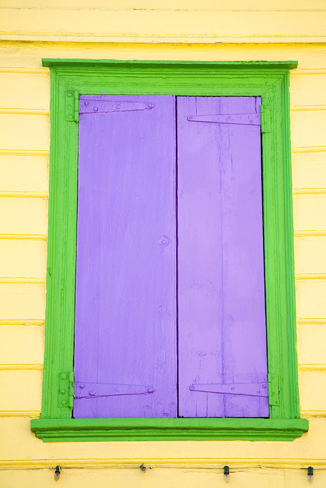Purple window shutters, St. Johns, Antigua Island, Antigua and Barbuda, Leeward Islands, Lesser Antilles, West Indies, Caribbean, Central America