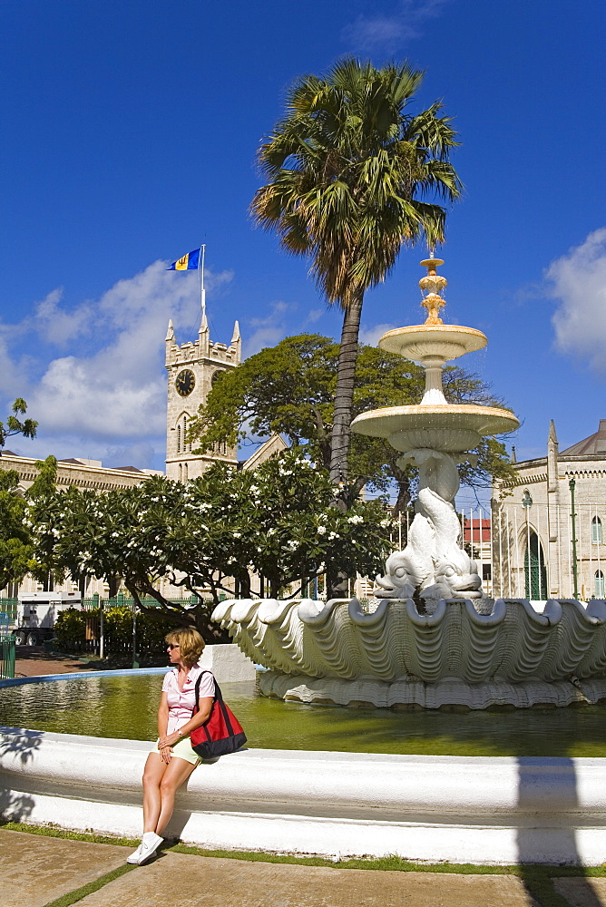 Fountain in Hero Square, Bridgetown, Barbados, West Indies, Caribbean, Central America