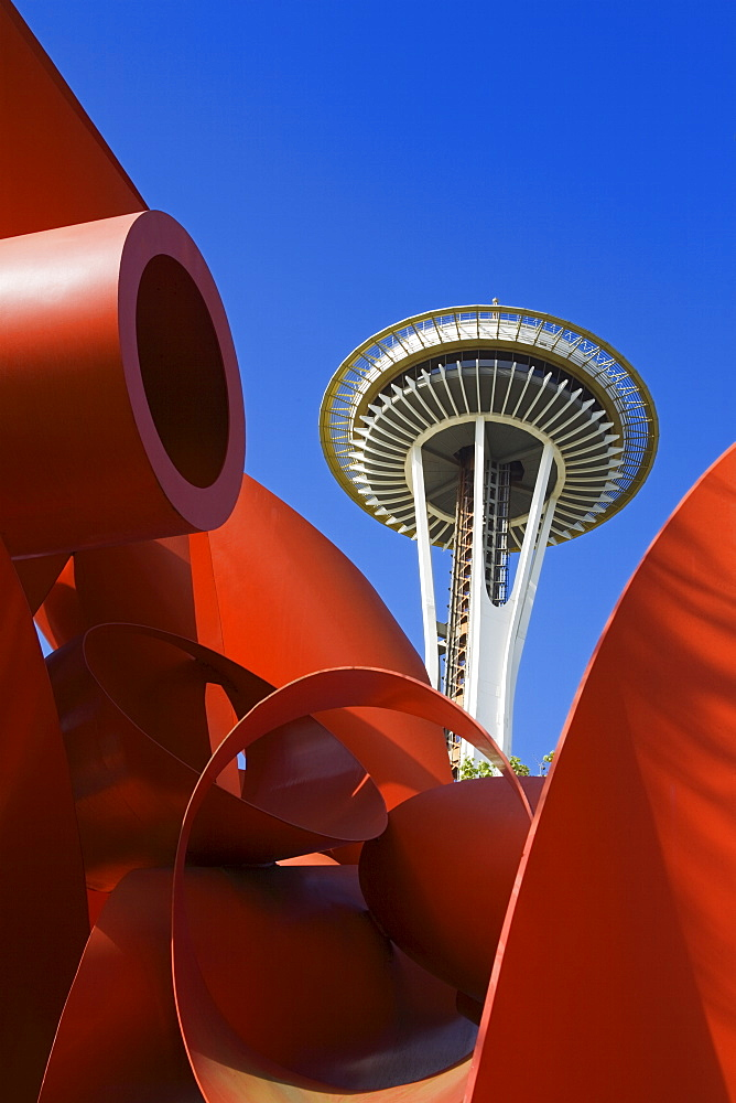 Olympic Iliad sculpture by Alexander Liberman and Space Needle, Seattle Center, Seattle, Washington State, United States of America, North America