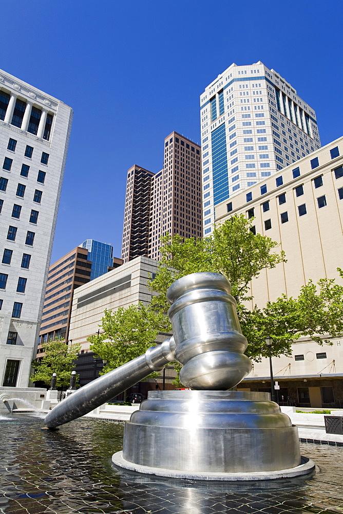 Gavel sculpture outside the Ohio Judicial Center, Columbus, Ohio, United States of America, North America