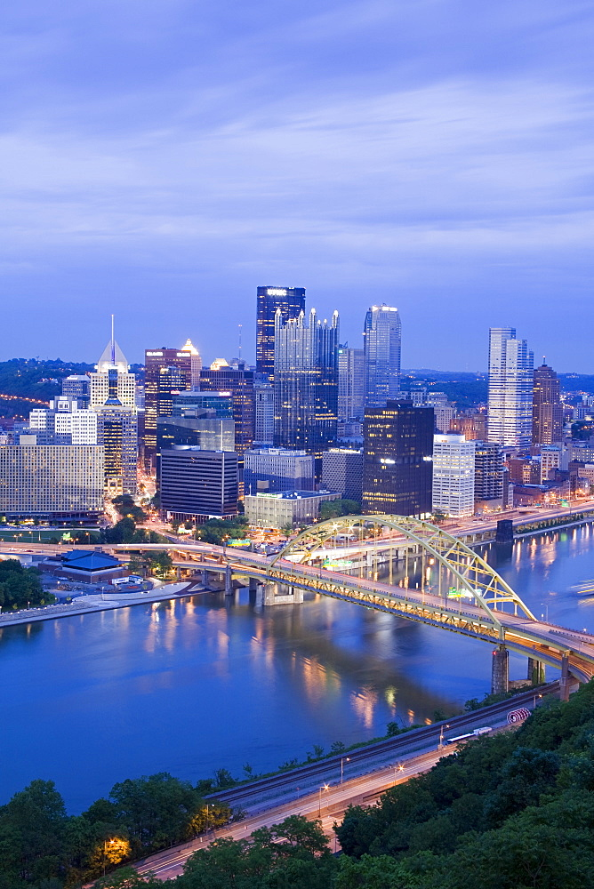 Pittsburgh skyline and Fort Pitt Bridge over the Monongahela River, Pittsburgh, Pennsylvania, United States of America, North America
