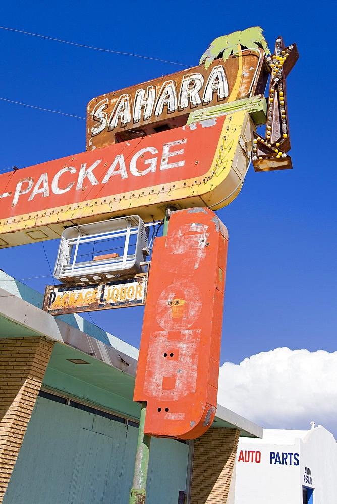 Old motel sign in Santa Rosa, New Mexico, United States of America, North America