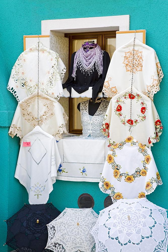 Handmade lace on Burano Island, Venice, Veneto, Italy, Europe