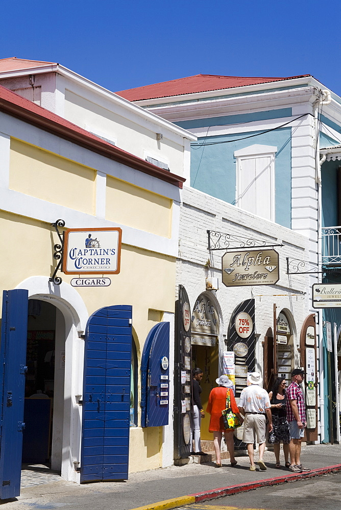 Stores on Main Street, Charlotte Amalie, St. Thomas Island, U.S. Virgin Islands, West Indies, Caribbean, Central America