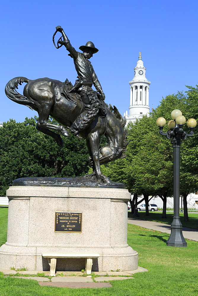 Broncho Buster sculpture in the Civic Center Cultural Complex, Denver, Colorado, United States of America, North America
