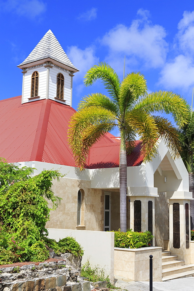 Evangelical Church on Bruyn Street, Gustavia, St. Barthelemy (St. Barts), Leeward Islands, West Indies, Caribbean, Central America