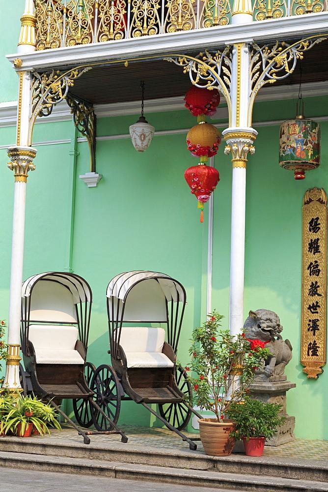 Rickshaws in Pinang Peranakan Mansion, Georgetown, Penang Island, Malaysia, Southeast Asia, Asia