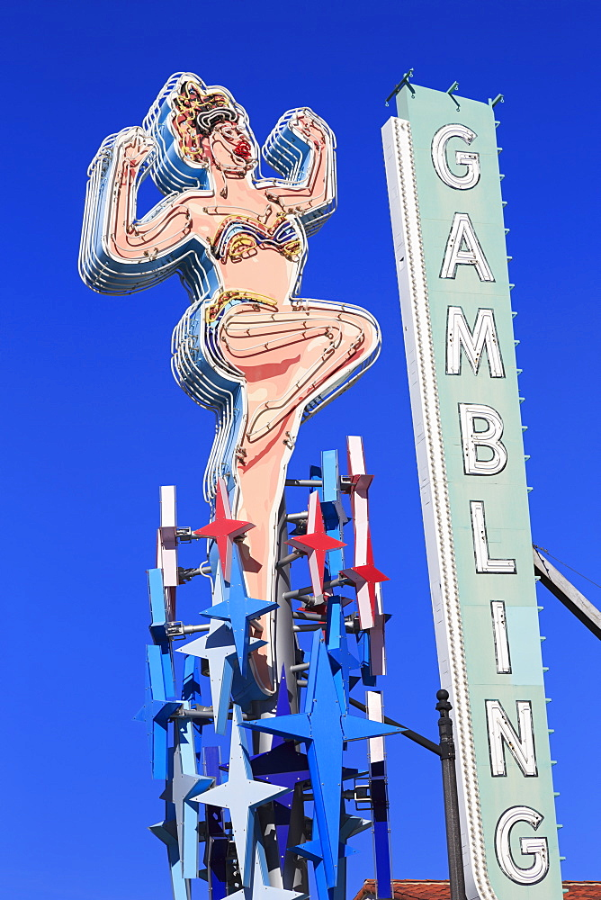 Neon signs, Fremont East District, Las Vegas, Nevada, United States of America, North America