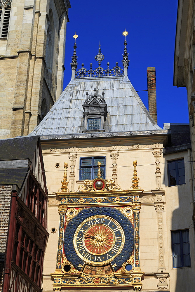 Great Clock, Old Town, Rouen, Normandy, France, Europe