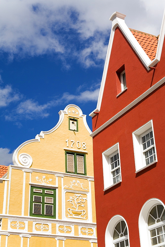 Penha Building painted yellow, Breedestraat, Punda District, Willemstad, Curacao, Netherlands Antillies, West Indies, Caribbean, Central America