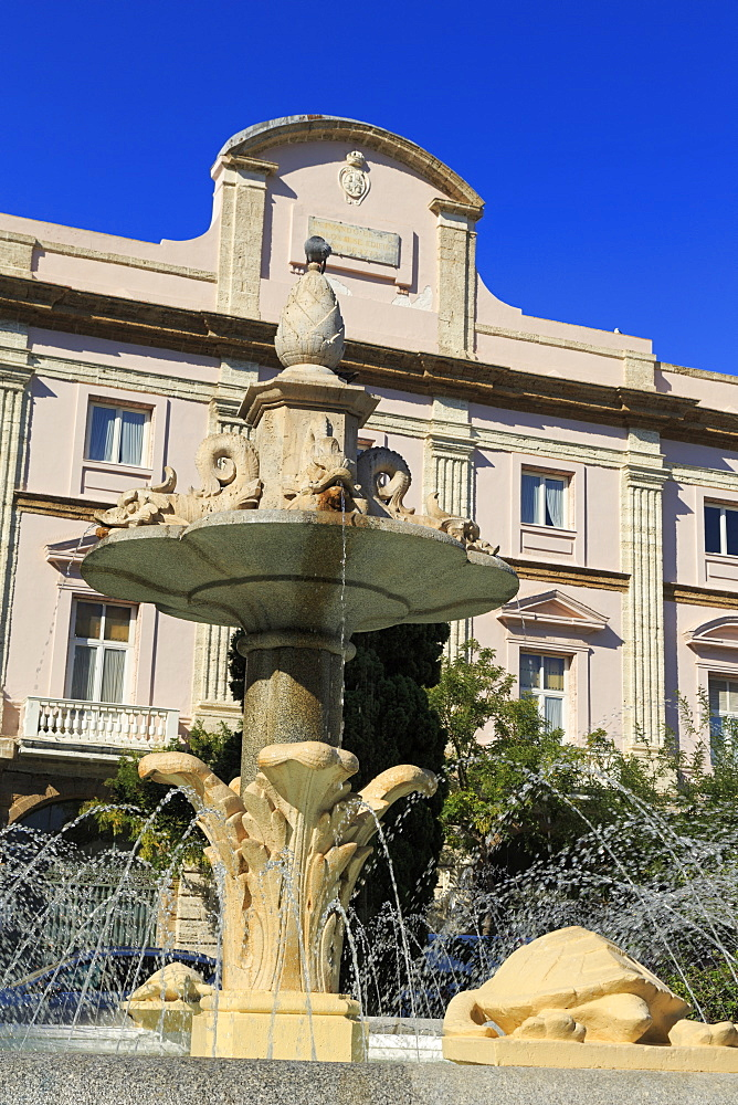 Fountain in Canalejas Park, Cadiz, Andalusia, Spain, Europe