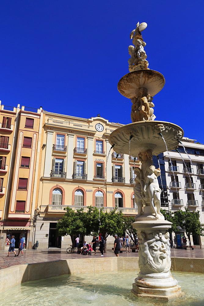 Fountain, Constitution Square, Malaga City, Andalusia, Spain, Europe