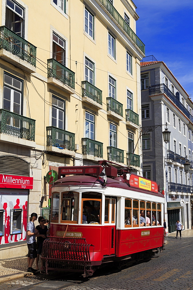 Tram, Praca Luis de Camoes, Lisbon, Portugal, Europe