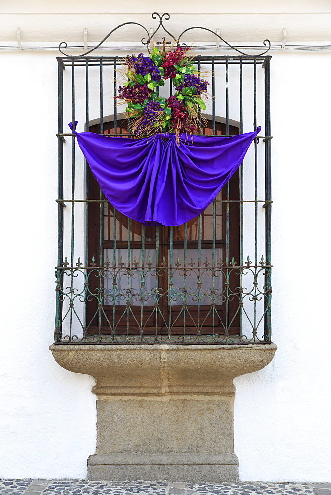 Window decorated for Easter, Antigua City, Guatemala, Central America