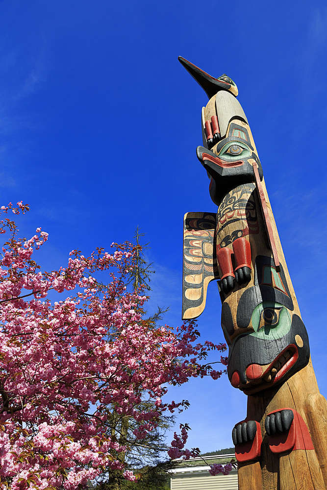 Chief Keyan Totem Pole, Ketchikan, Alaska, United States of America, North America