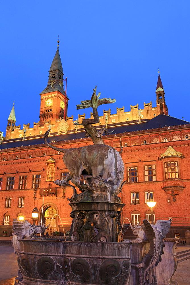 Fountain in Town Hall Square, Copenhagen, Zealand, Denmark, Scandinavia, Europe