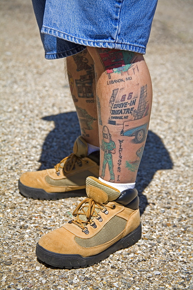 Man covered in Route 66 Tattoos, Afton Gas Station Museum & Visitor Center, Oklahoma, United States of America, North America