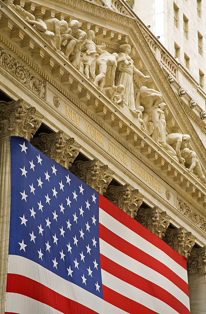 Stock Exchange on Wall Street, Lower Manhattan, New York City, New York, United States of America, North America - 776-728