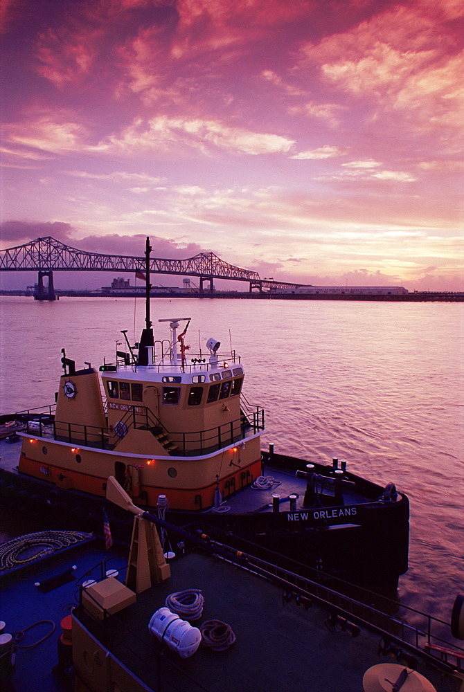Tug boat, port of Baton Rouge, Louisiana, United States of America, North America