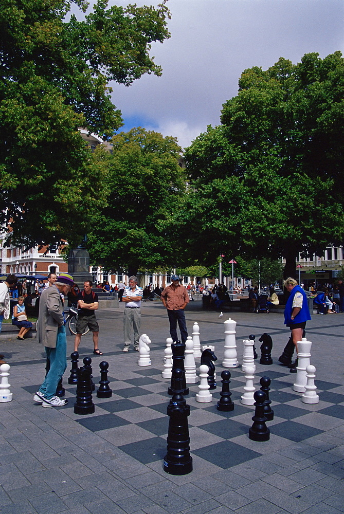 Chess game, Cathedral Square, Christchurch, Canterbury, South Island, New Zealand, Pacific