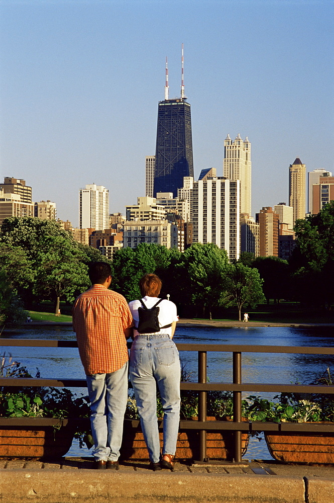 City skyline from Lincoln Park, Chicago, Illinois, United States of America, North America