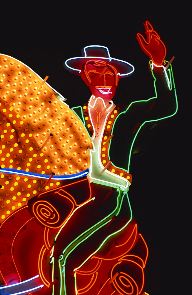 Neon cowboy, Fremont Street, Las Vegas, Nevada, United States of America, North America
