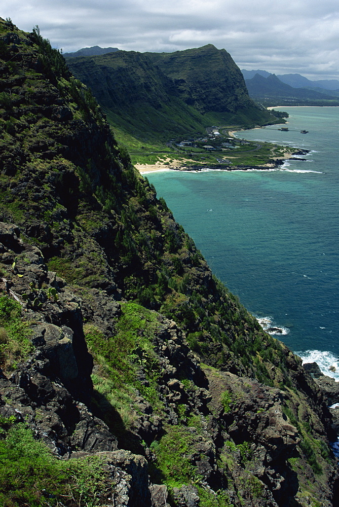 View of Windward Shore from Makapuu Head, Oahu island, Hawaii, United States of America, North America