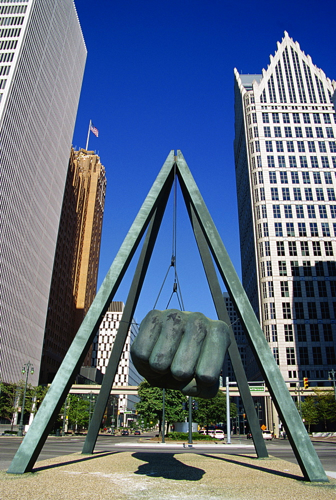 Joe Lewis Monument on Jefferson Street, Detroit, Michigan, United States of America, North America