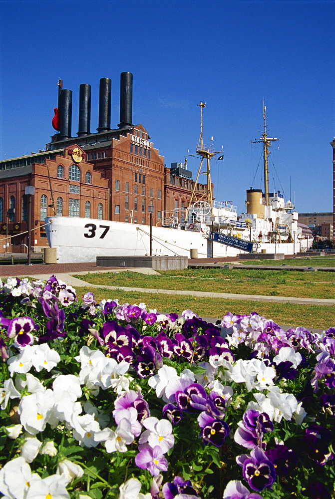Power plant and Cutter Taney, Inner Harbor, Baltimore, Maryland, United States of America, North America