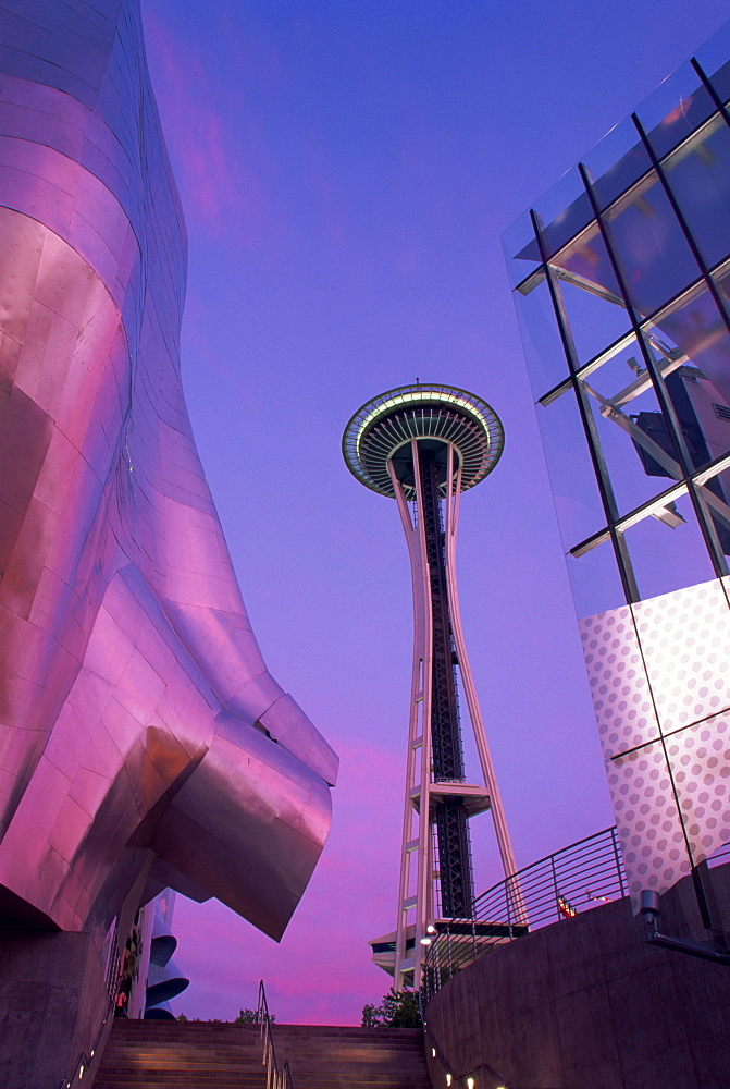 Experience Music Project and Space Needle, Seattle Center, Seattle, Washington state, United States of America, North America