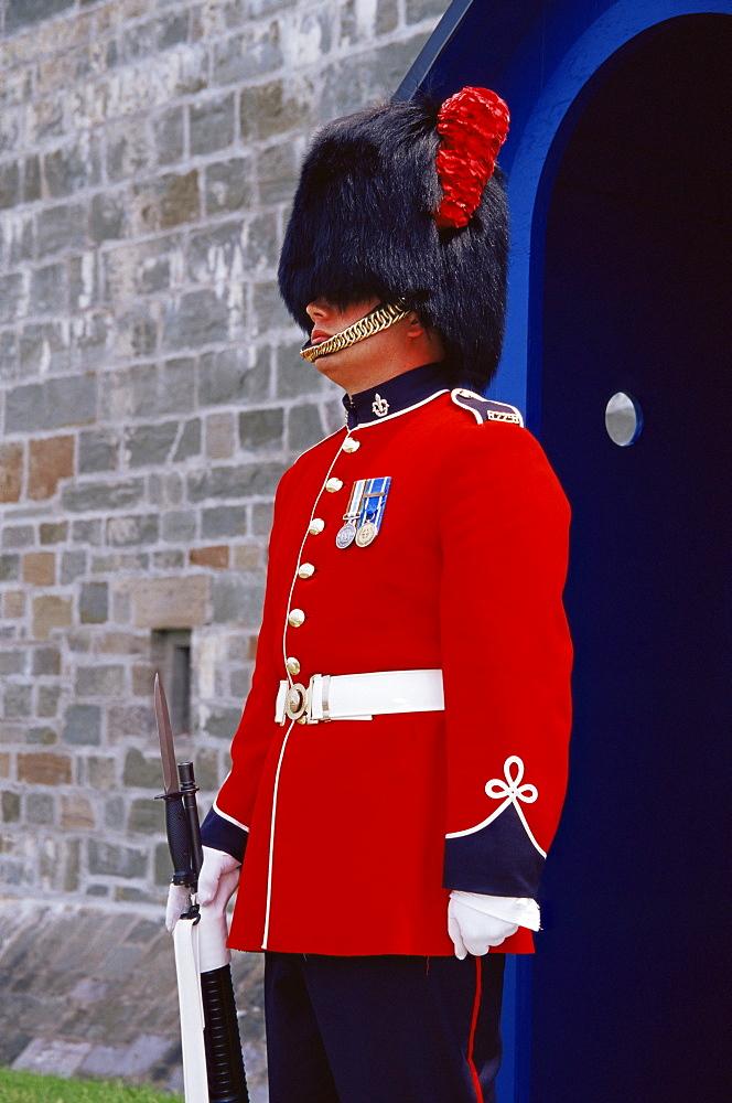 Ceremonial guard at the Citadel, Quebec city, Quebec state, Canada, North America