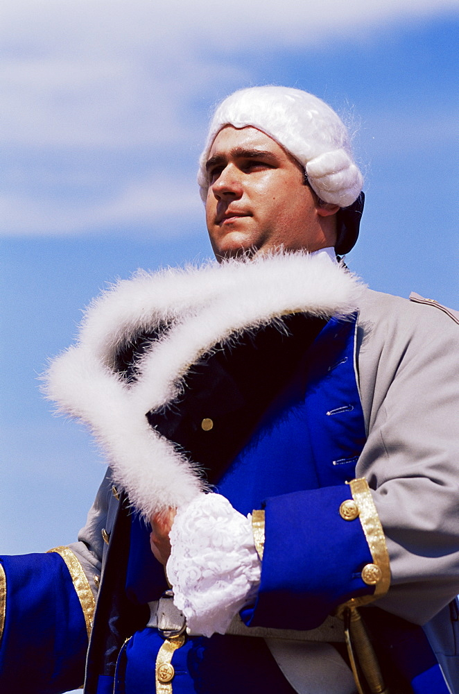 French soldier circa 1700, Dufferin Terrace, Quebec city, Quebec state, Canada, North America