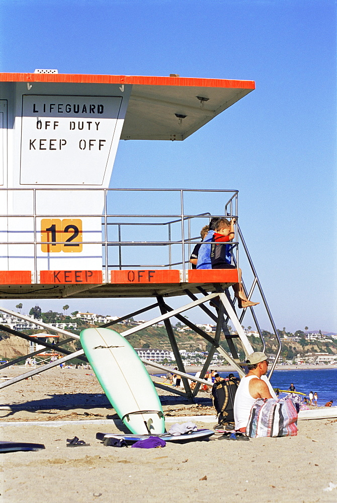 Lifeguard tower, Doheny State Beach, Dana Point, Orange County, California, United States of America, North America