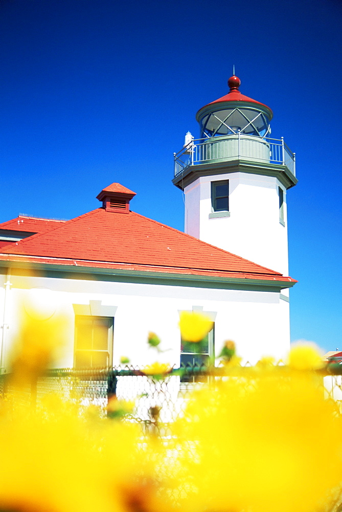Alki Point Lighthouse, Puget Sound, Seattle, Washington state, United States of America, North America